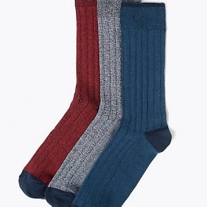 3 Pack Rich Cool & Fresh Ribbed Socks
