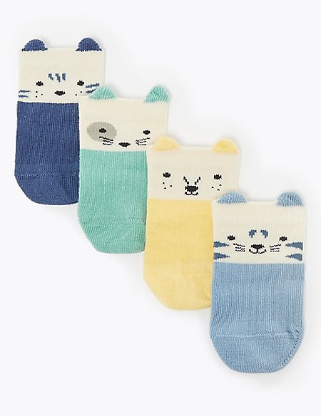 4 Pack of Cotton Rich Animal Socks