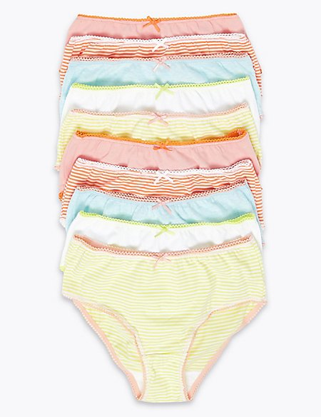 10 Pack Pure Cotton Striped Knickers