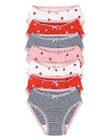 7 Pack Cotton Strawberry Knickers