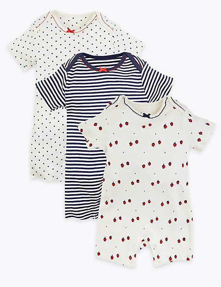 3 Pack Organic Cotton Nautical Rompers