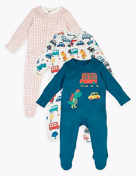 3 Pack Organic Cotton Car Print Sleepsuits