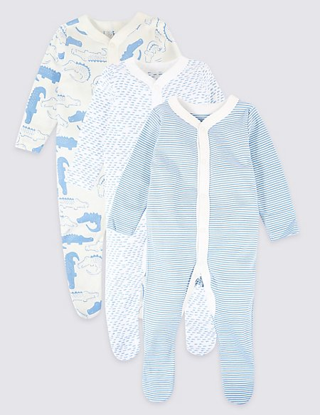 3 pack Organic Animal Sleepsuit