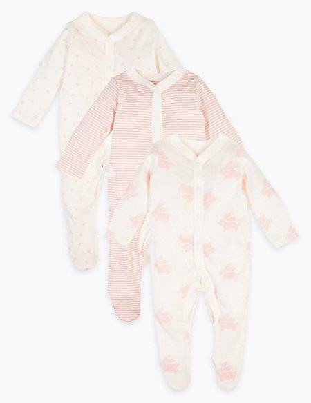 3 Pack Organic Cotton Patterned Sleepsuits