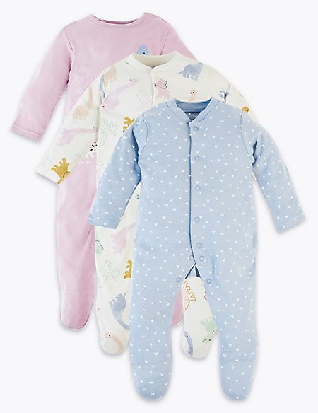 3 Pack Organic Cotton Dinosaur Sleepsuits
