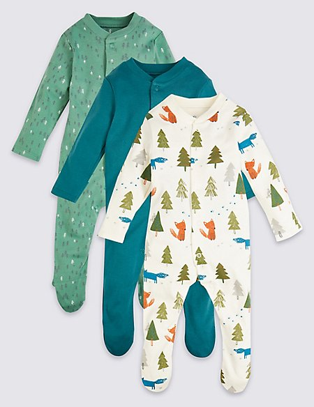 3 Pack Organic Cotton Sleepsuits