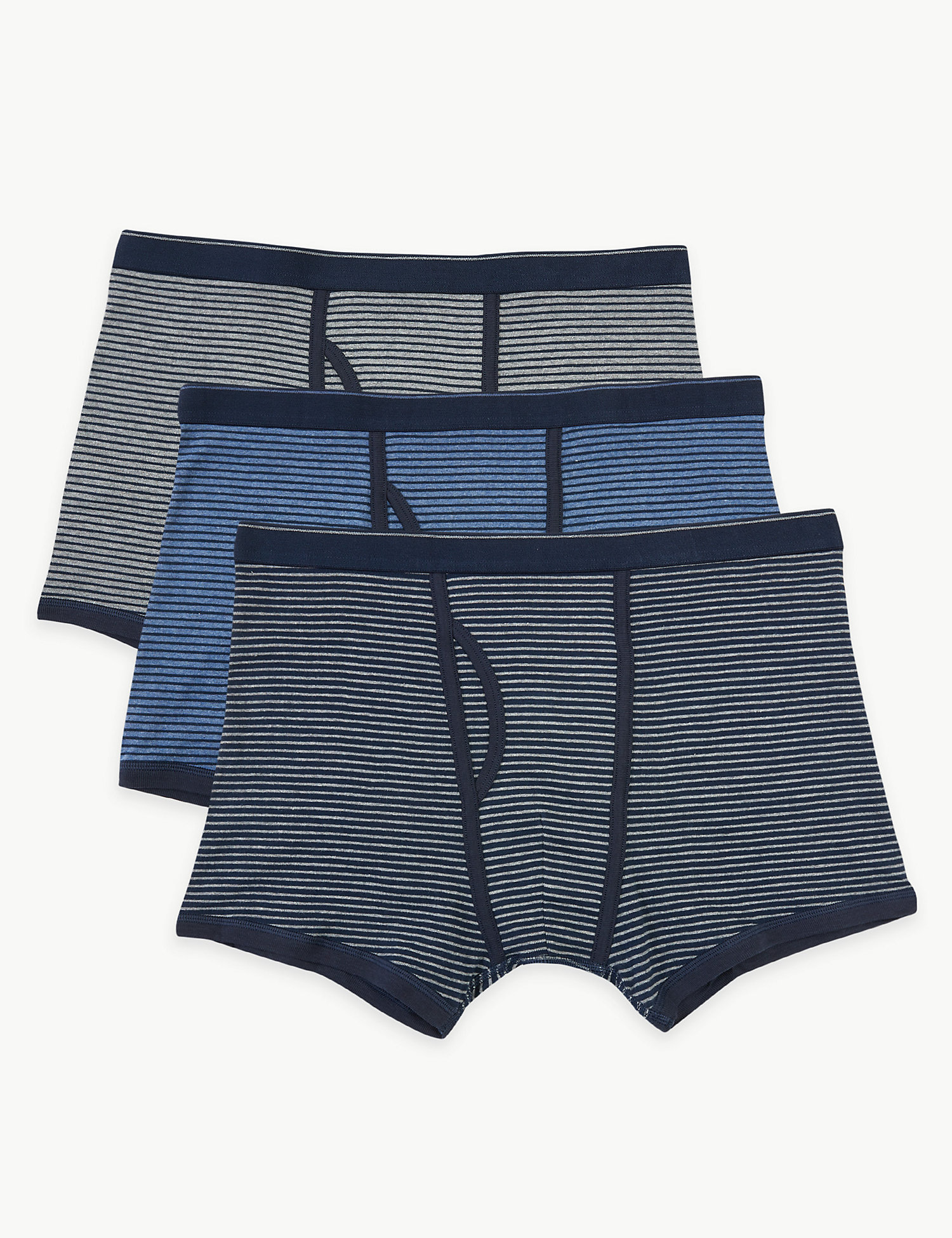 3 Pack Cotton Cool & Fresh Striped Trunks