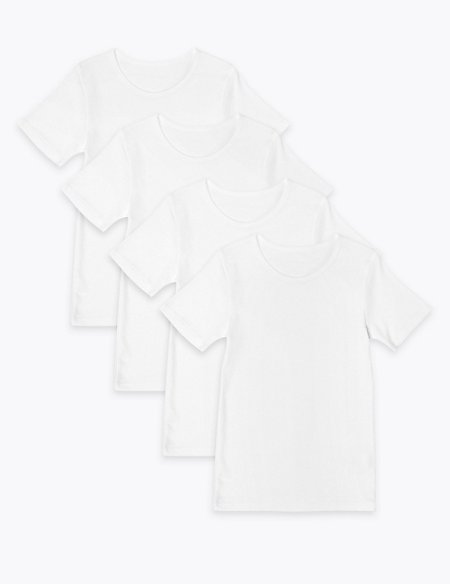 4 Pack Pure Cotton Short Sleeve Vests-(2-16 Yrs)