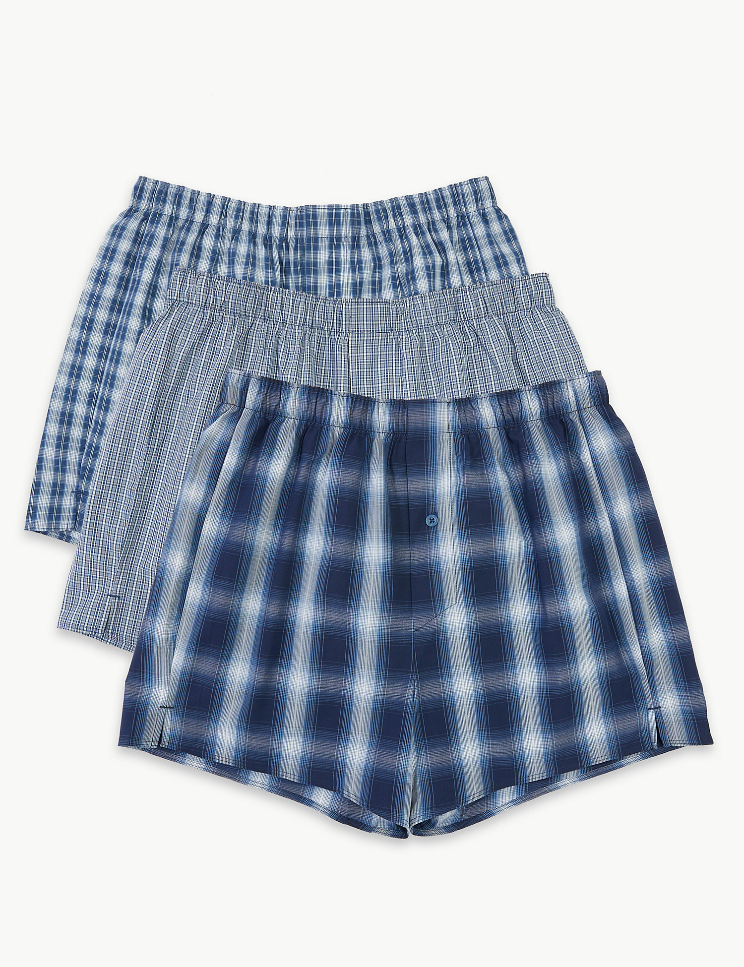 3 Pack Ombre Checked Boxers