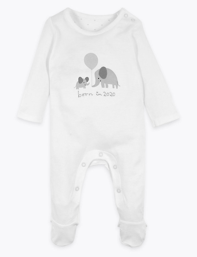 Organic Cotton Born in 2020 Slogan Sleepsuit (6lbs-3 Yrs)