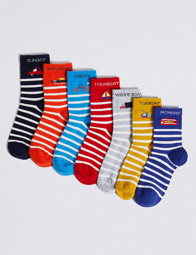 7 Pack Days Of The Week Transport Socks