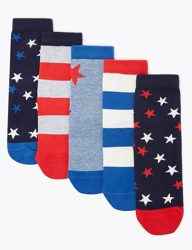 5 Pack of Cotton Rich Star Socks
