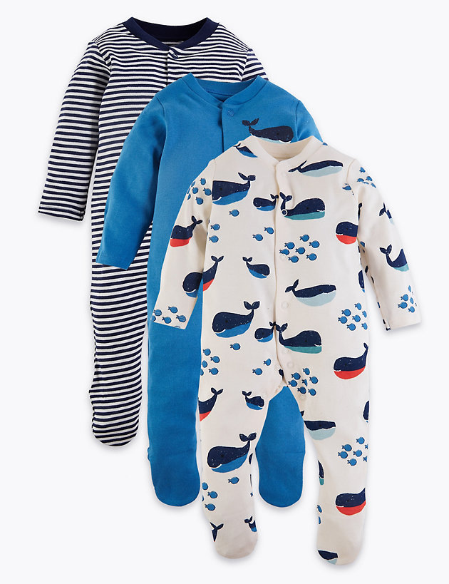 3 Pack Organic Cotton Nautical Sleepsuits (6.5lbs-3 Yrs)