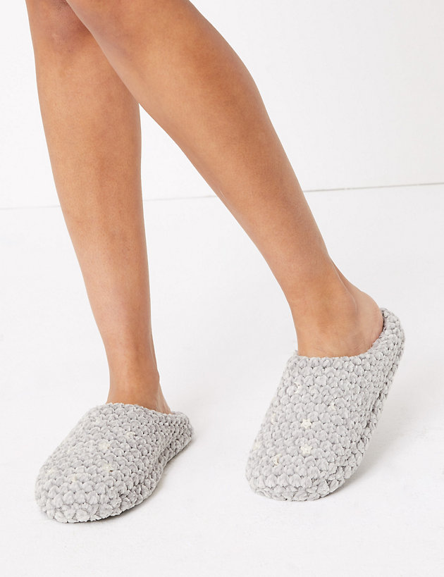 Button Detail Mule Slippers