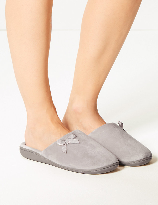 Bow Mule Slippers with Memory Foam