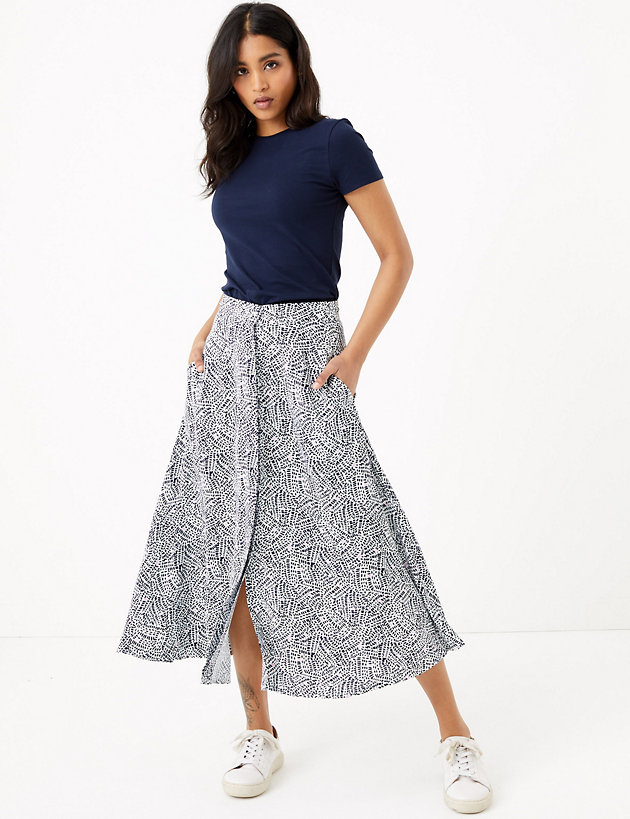 Printed Button Front Midi A-Line Skirt