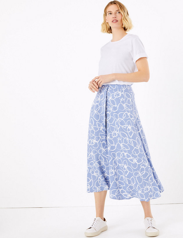 Printed Button Front Midi Slip Skirt