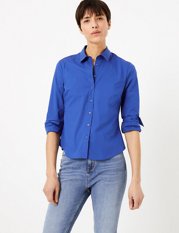 Cotton Rich Fitted Long Sleeve Shirt