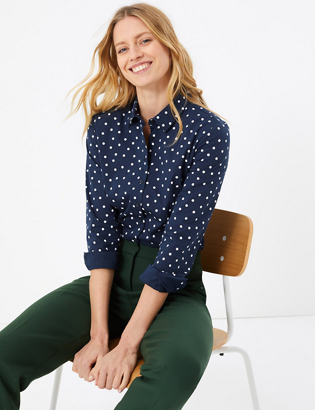 Cotton Rich Polka Dot Fitted Shirt