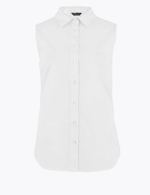Cotton Fitted Sleeveless Shirt