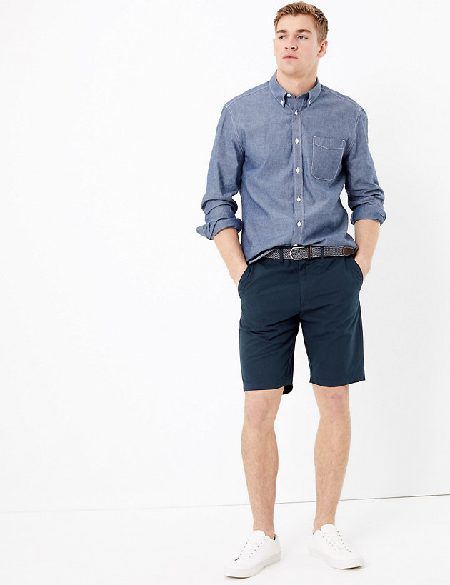 Cotton Checked Chino Shorts with Belt