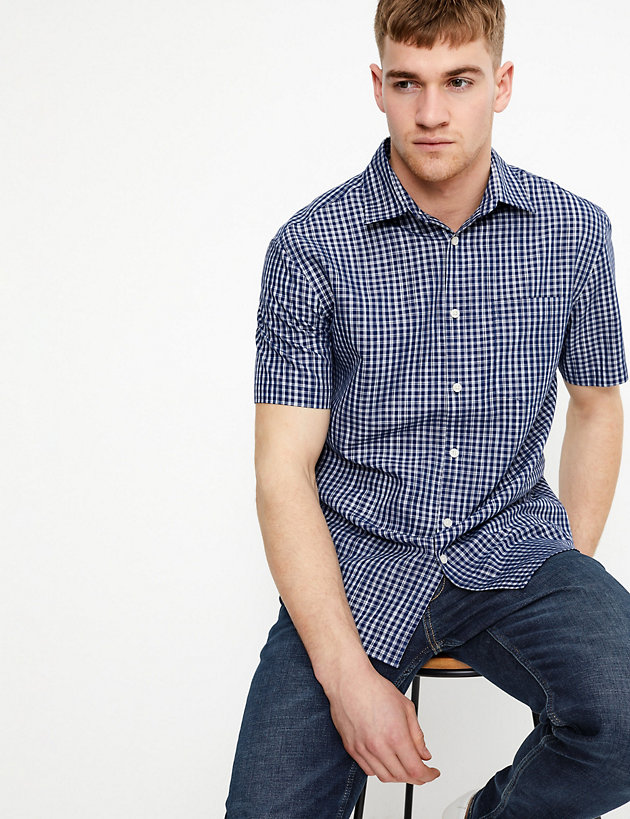Cotton Space Dye Checked Shirt