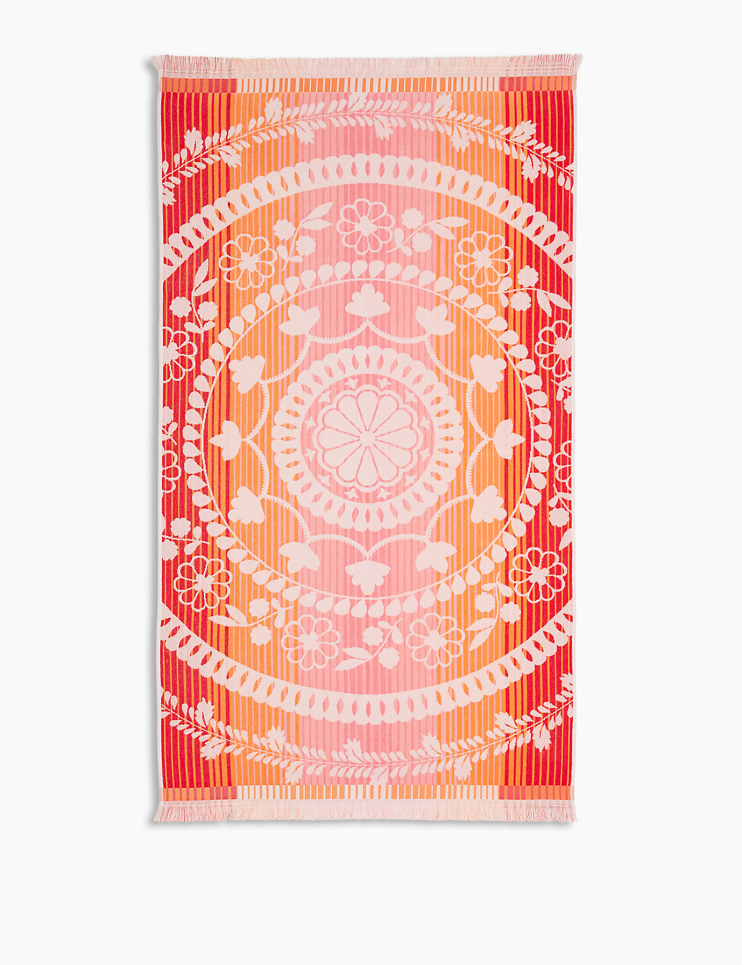 Cotton Ombre Print Fringed Beach Towel