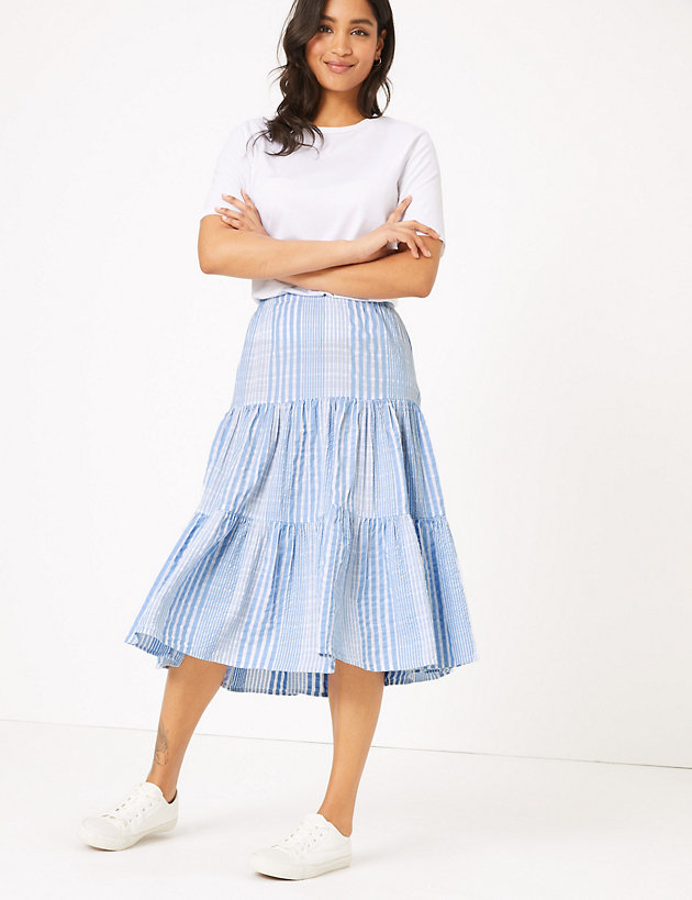 Cotton Striped Tiered Midi Skirt