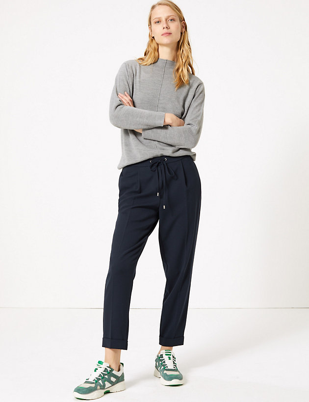 Drawstring Pleated Tapered Trousers