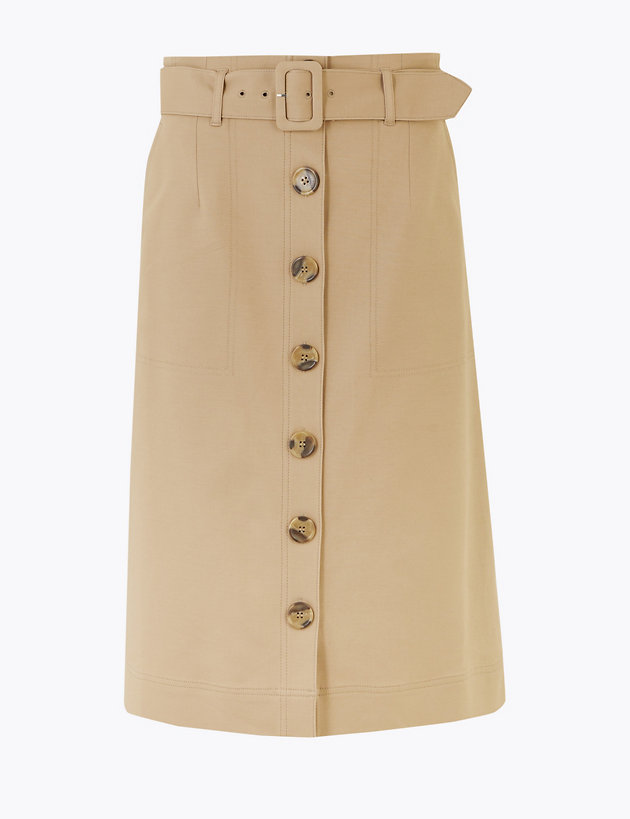 Button Front Midi A-Line Skirt