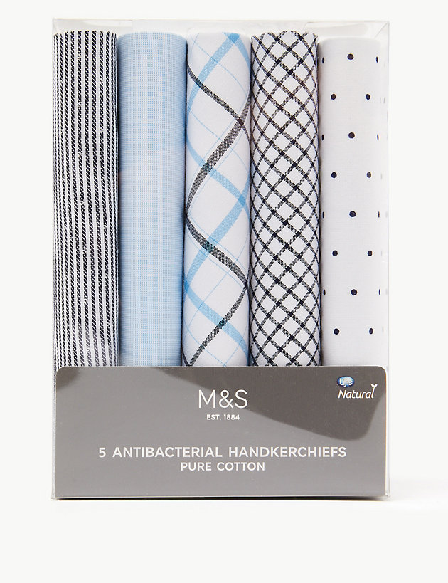 5 Pack Antibacterial Pure Cotton Handkerchiefs
