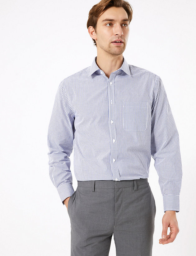 2 Pack Regular Fit Checked Long Sleeve Shirts
