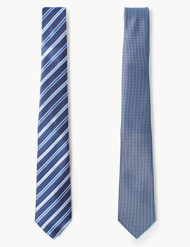2 Pack Striped & Textured Tie