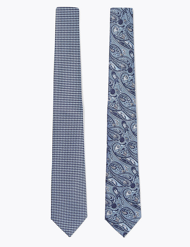 2 Pack Paisley & Checkerboard Woven Ties