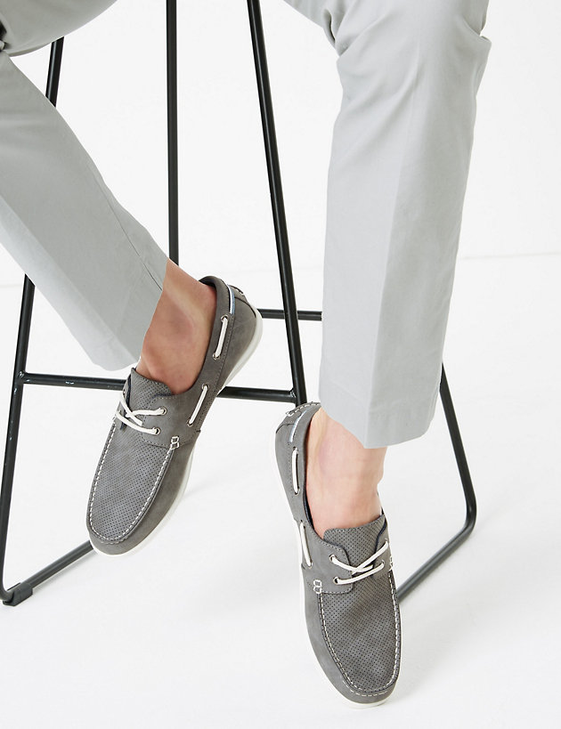 Perforated Lace-Up Boat Shoes