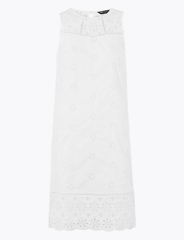 Pure Cotton Embroidered Shift Dress