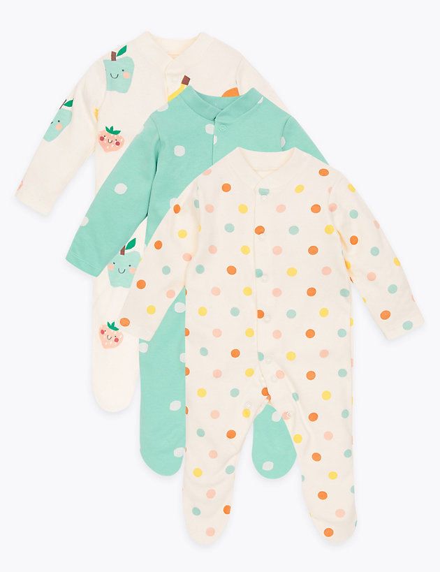3 Pack Organic Cotton Fruit Sleepsuits (6.5lbs - 3 Yrs)