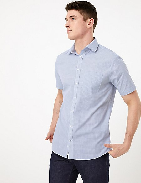2 Pack Regular Fit Checked Short Sleeve Shirts