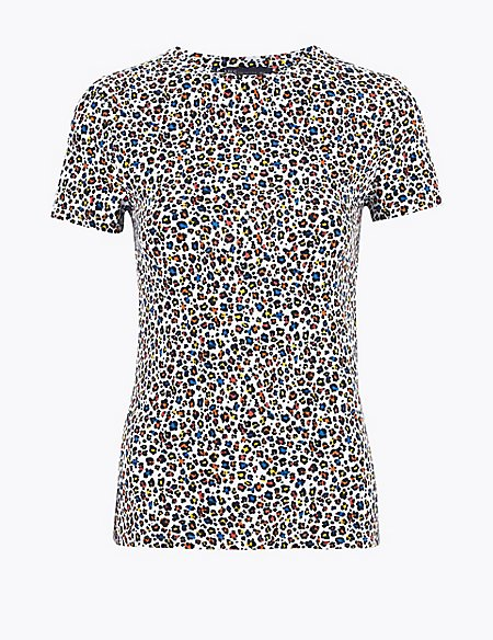 Cotton Animal Print Fitted Short Sleeve Top