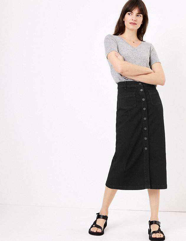 Denim Button Detailed Midi Skirt