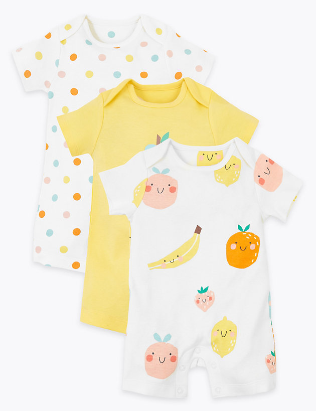 3 Pack Organic Cotton Fruit Rompers (6.5lbs-3 Yrs)