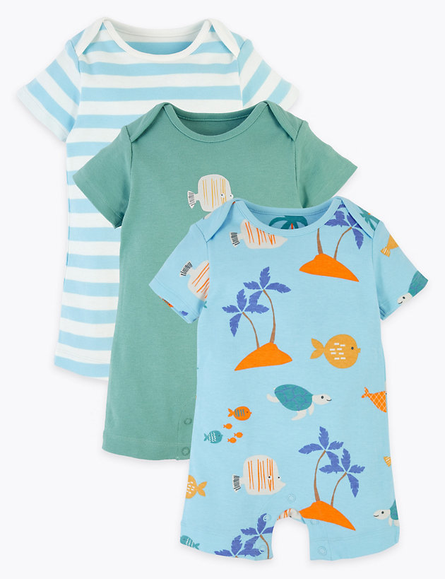 3 Pack Organic Cotton Sealife Rompers (6.5lbs-3 Yrs)