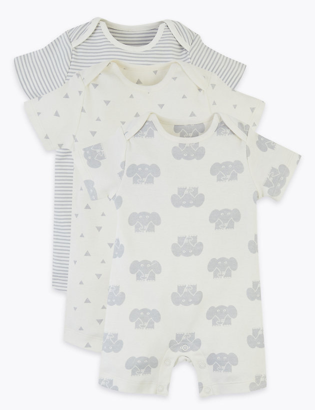 3 Pack Organic Cotton Elephant Rompers (7lbs-3 Yrs)