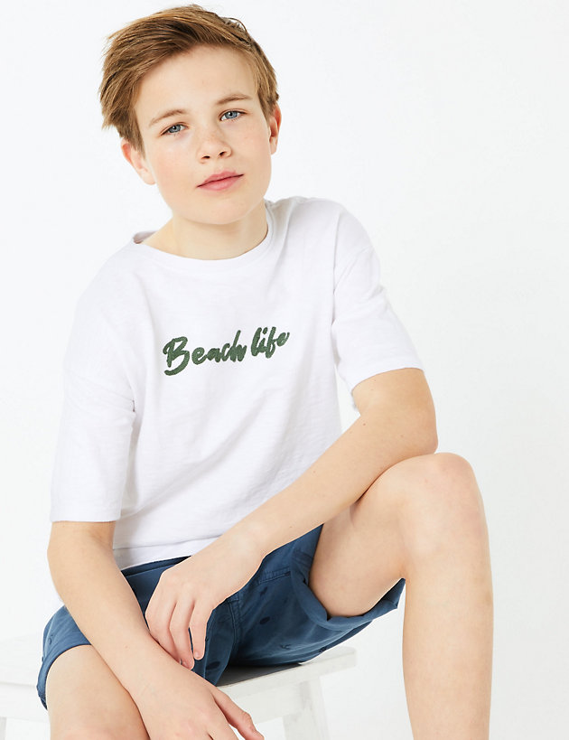 Pure Cotton Embroidered Skull T-Shirt (6-16 Yrs)