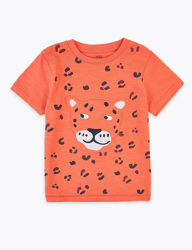 Pure Cotton Leopard T-Shirt (2-7 Years)