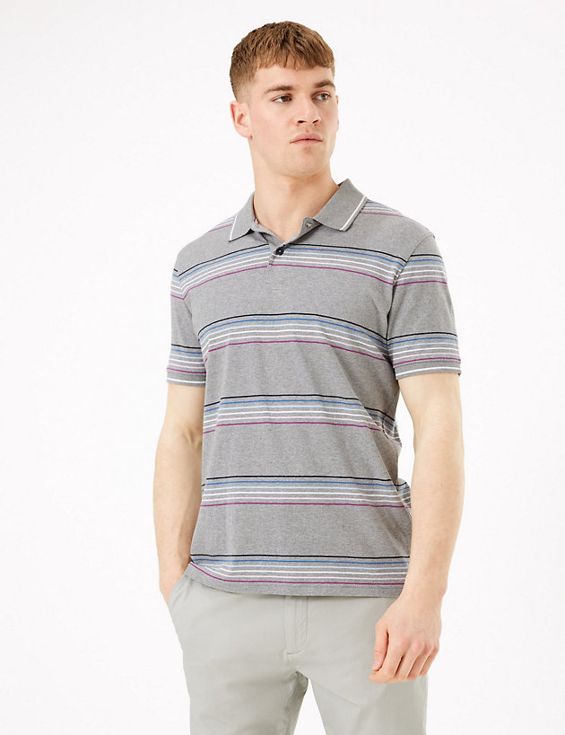 Pure Cotton Fine Stripe Polo Shirt