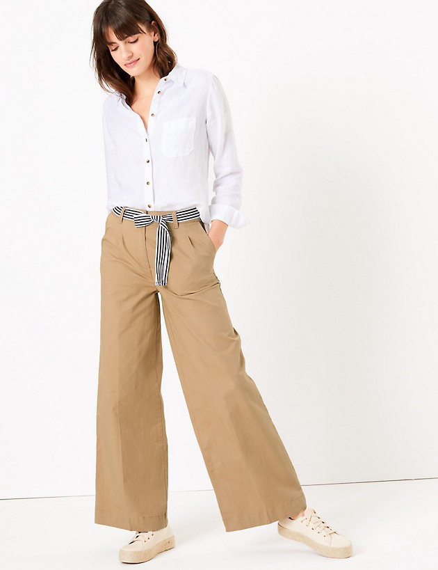 Cotton Belted Wide Leg Chinos
