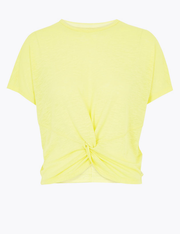 Cropped Twist Front Short Sleeve Top