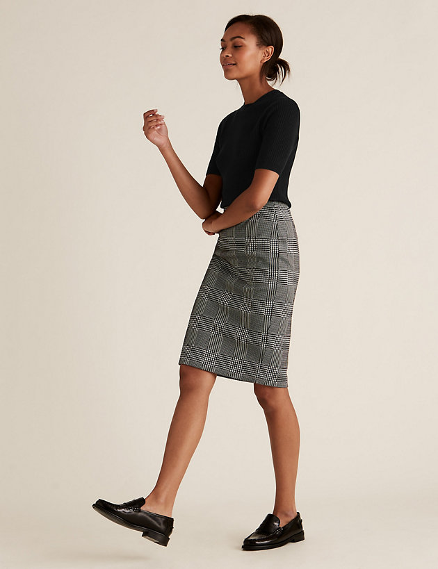Jersey Checked Knee Length Pencil Skirt