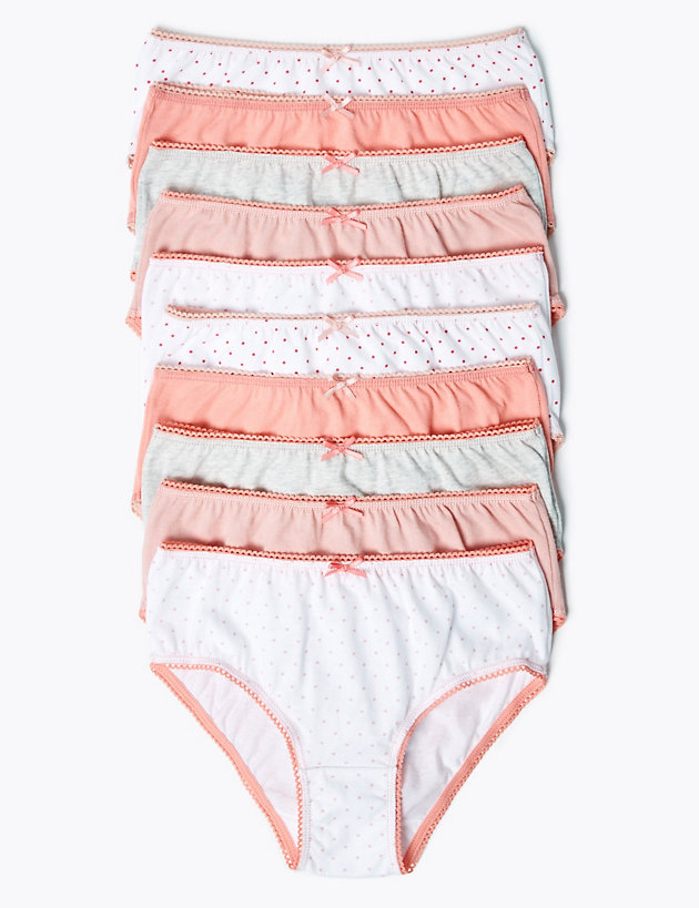 10 Pack Pure Cotton Spotted Knickers (2-16 Yrs)